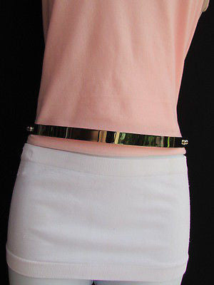 Silver / Gold Metal Mirror Plate Chic Black Fabric Stretch Waist Hip Thin Belt New Women Fashion Accessories XS To L - alwaystyle4you - 10