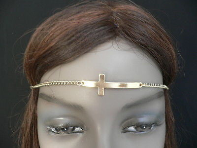 Gold Metal Head Band Chain Celebrity Circlet Cross New Women Elegant Jewelry Accessories
