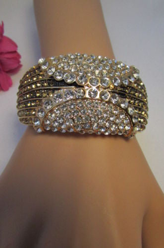 Gold / Silver Metal Retro Bracelet Cuff Multi Rhinestones New Women Fashion Jewelry Accessories - alwaystyle4you - 14
