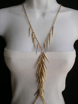 Women Gold Long Spikes Long Body Chain Fashion Trendy Fashion Jewerly Style - alwaystyle4you - 6