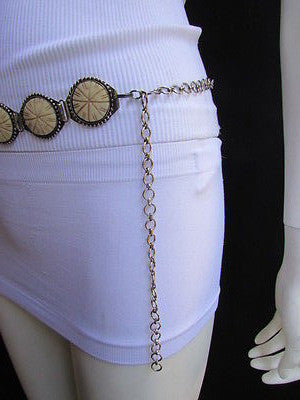 Silver Metal Chains Ivory Circles Shaped Unique Hip Waist Belt New Women Hot Fashion Accessories S - M - alwaystyle4you - 10