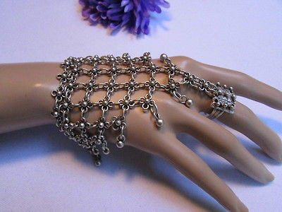 New Women Silver Flower Metal Chains Slave Bracelet Turkish Cuff Ring Hand Made - alwaystyle4you - 9