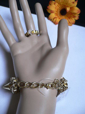 New Women Gold Meatl Hand Links Chain Spikes Slave Bracelet Wrist Ring Connected - alwaystyle4you - 11