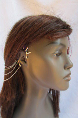 Brand New Trendy Fashion Women Silver Chain Spikes Cuff Earring To Hair Pin Headband Claw - alwaystyle4you - 12