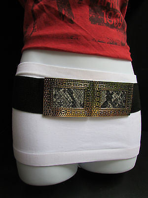 Black / Brown Hip Waist Stretch Belt Snake Print Moroccan Buckle Style Women Fashion Accessories Size S  M - alwaystyle4you - 8