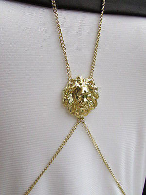 Women Full Body Chain Jewelry Long Necklace Paris Style Gold Metal Lion Head Thin - alwaystyle4you - 8