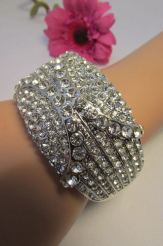 Gold / Silver Metal Retro Bracelet Cuff Multi Rhinestones New Women Fashion Jewelry Accessories - alwaystyle4you - 19
