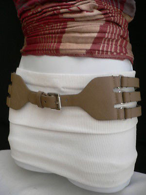 Aqua Blue Taupe Light Brown Black Red Faux Leather Elastic Hip Waist Belt Silver Buckle And Rings Rib Cage Women Fashion Accessories S M - alwaystyle4you - 3