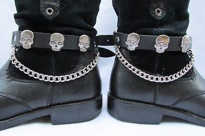 Biker Unisex Boots Silver Chains Pair Leather Straps Metal Skulls New Western Fashion - alwaystyle4you - 10