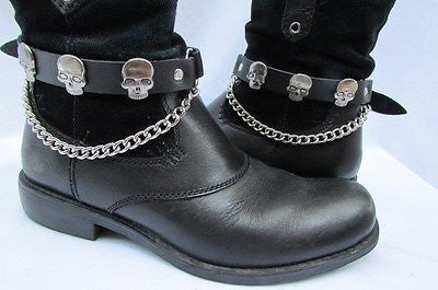 Biker Unisex Boots Silver Chains Pair Leather Straps Metal Skulls New Western Fashion - alwaystyle4you - 3