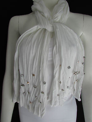 New Women Soft Fabric Fashion White / Blue /  Gray / Black Scarf Long Necklace Silver Metal Stars Studs - alwaystyle4you - 8