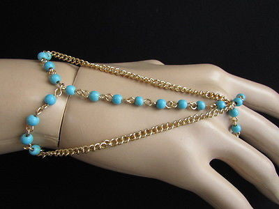 Women Gold Fashion 3 Strands Hand Chains Sky Blue Beads Hand Bracelet Slave Ring - alwaystyle4you - 3