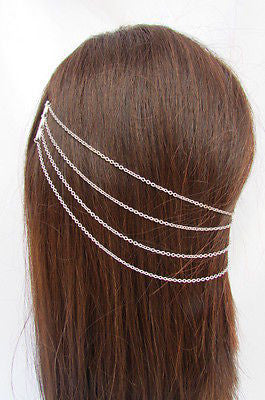 Brand New Trendy Fashion Women Silver Chain Spikes Cuff Earring To Hair Pin Headband Claw - alwaystyle4you - 4