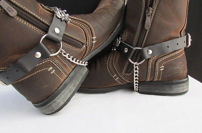 Silver Boot Chain Bracelet Pair Black Leather Straps Rose Flowers New Western Women Men - alwaystyle4you - 10