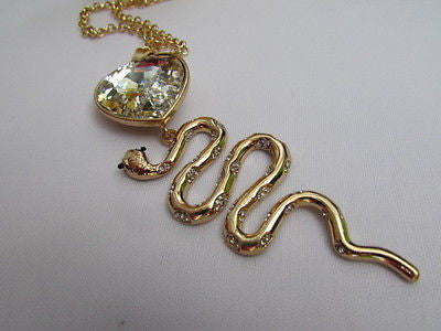 Women Gold Metal Chains Fashion Necklace Big Snake Pendant Heart Rhinestones - alwaystyle4you - 4