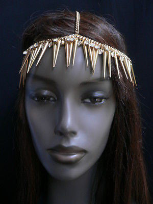 New Women Gold Head Chain Spikes Fashion Jewelry Rhinestones Circlet Headband - alwaystyle4you - 11