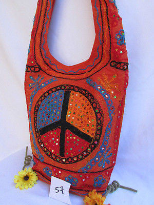 New Women Cross Body Fabric Fashion Messenger Hand Bag Big Peace Sign Black Red Blue - alwaystyle4you - 116