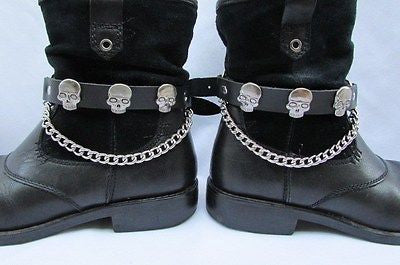 Biker Unisex Boots Silver Chains Pair Leather Straps Metal Skulls New Western Fashion - alwaystyle4you - 1