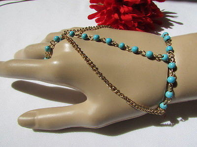 Women Gold Fashion 3 Strands Hand Chains Sky Blue Beads Hand Bracelet Slave Ring - alwaystyle4you - 6