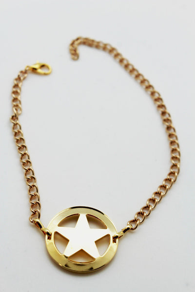 Gold / Silver Metal Boot Bracelet Chains Links Texas Star New Women Fashion Bling Jewelry Rodeo Style - alwaystyle4you - 12