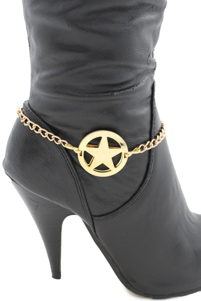 Gold / Silver Metal Boot Bracelet Chains Links Texas Star New Women Fashion Bling Jewelry Rodeo Style - alwaystyle4you - 13