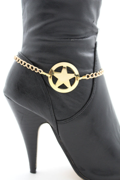 Gold / Silver Metal Boot Bracelet Chains Links Texas Star New Women Fashion Bling Jewelry Rodeo Style - alwaystyle4you - 1