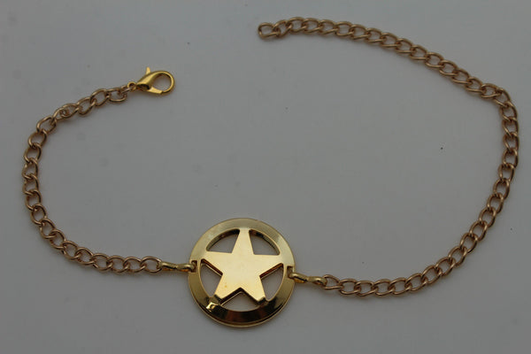 Gold / Silver Metal Boot Bracelet Chains Links Texas Star New Women Fashion Bling Jewelry Rodeo Style - alwaystyle4you - 4
