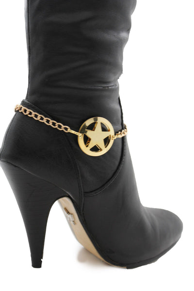 Gold / Silver Metal Boot Bracelet Chains Links Texas Star New Women Fashion Bling Jewelry Rodeo Style - alwaystyle4you - 6