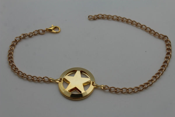 Gold / Silver Metal Boot Bracelet Chains Links Texas Star New Women Fashion Bling Jewelry Rodeo Style - alwaystyle4you - 7