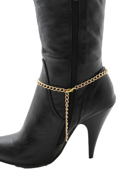 Gold / Silver Metal Boot Bracelet Chains Links Texas Star New Women Fashion Bling Jewelry Rodeo Style - alwaystyle4you - 8