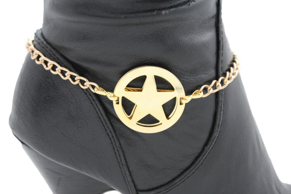 Gold Metal Boot Bracelet Chains Links Texas Star New Women Fashion Bling Jewelry Accessories