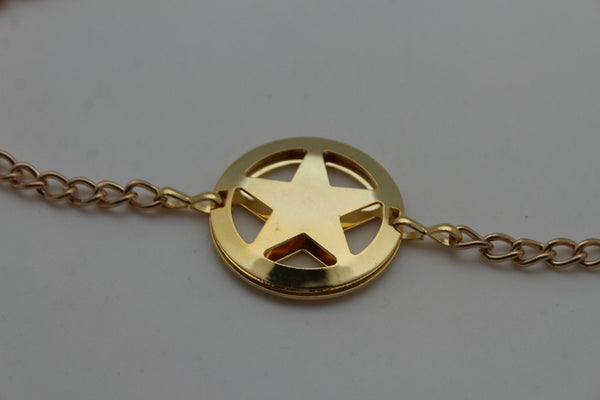 Gold / Silver Metal Boot Bracelet Chains Links Texas Star New Women Fashion Bling Jewelry Rodeo Style - alwaystyle4you - 10