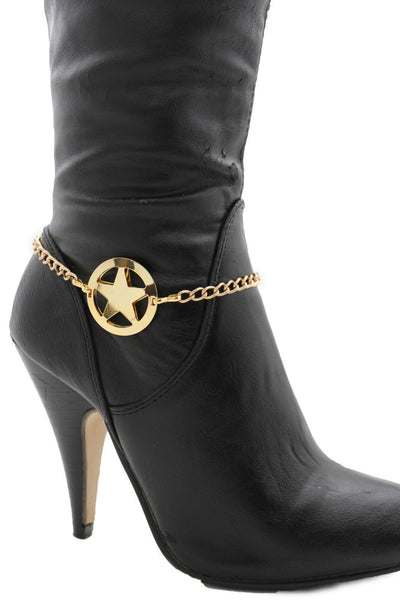 Gold / Silver Metal Boot Bracelet Chains Links Texas Star New Women Fashion Bling Jewelry Rodeo Style - alwaystyle4you - 11