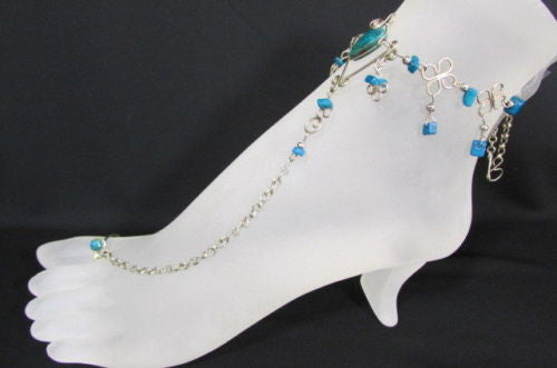 Silver Metal Foot Chain Toe Ring Slave Anklet Multi Beads Blue White Black Stones Women Accessories