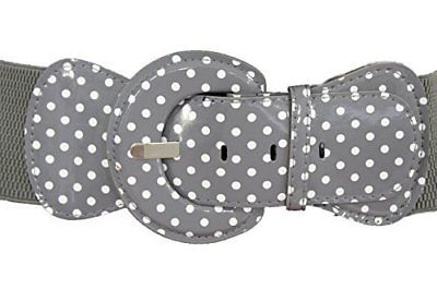 Trendy Stretch Waist Elastic White Polka Dots Round Buckle Belt Women Fashion Accessories