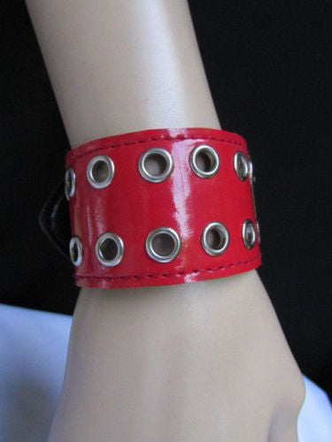 Red Wide Faux Patent Leather Silver Buckle Bracelet Fashion New Unisex Jewelry Accessories Motorcycle Style - alwaystyle4you - 9