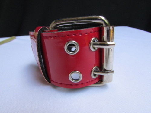 Red Wide Faux Patent Leather Silver Buckle Bracelet Fashion New Unisex Jewelry Accessories Motorcycle Style - alwaystyle4you - 13