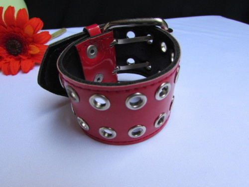 Red Wide Faux Patent Leather Silver Buckle Bracelet Fashion New Unisex Jewelry Accessories Motorcycle Style - alwaystyle4you - 2