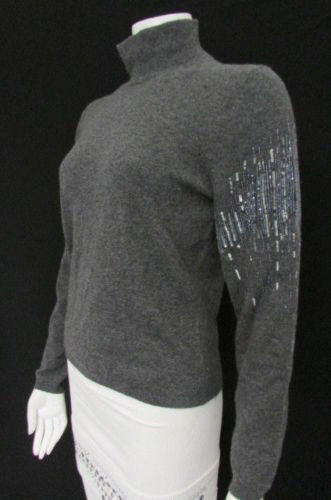 Gray Sweater Cashmere Evening Knit Silver Sequins Bead Valentino New Women Fashion Size 10