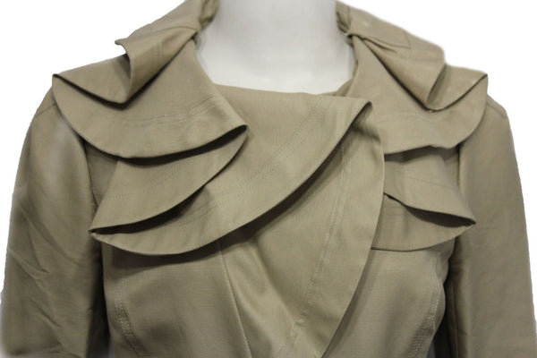 Beige Khaki Cotton Short Fashion Coat Jacket Wide Wavy Neck Valentino Brand New Women Size 10