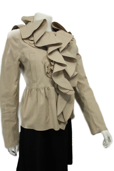 Beige Khaki Short Coat Jacket Wide Ruffle Neck Flower Valentino Brand New Women Fashion Size 10