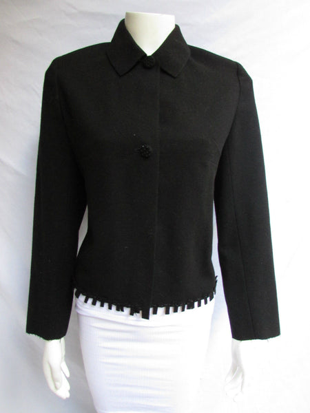Black Wool Blend Double Buttons Cuts Jacket Valentino Women Classic Silze American 8 Italian 42