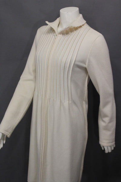 Off White Cream Virgin Wool Long Coat Stretch Jacket Valentino Brand New Women Fashion Size 8