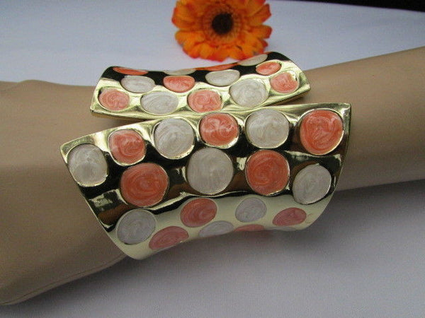 Gold Metal Wide Cuff Bracelet Claws White Peach Polka Dots New Women Fashion Jewelry Accessories - alwaystyle4you - 11
