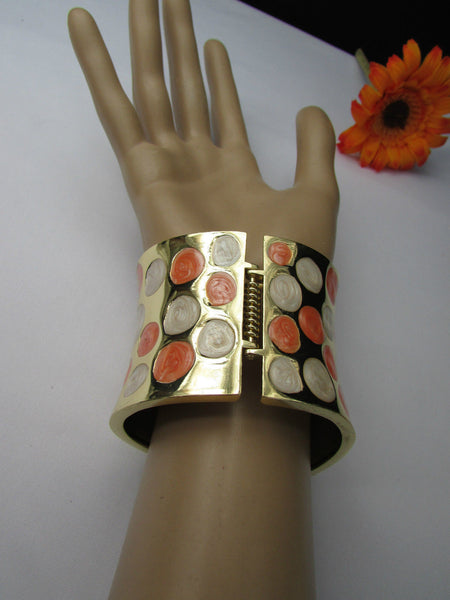 Gold Metal Wide Cuff Bracelet Claws White Peach Polka Dots New Women Fashion Jewelry Accessories - alwaystyle4you - 12