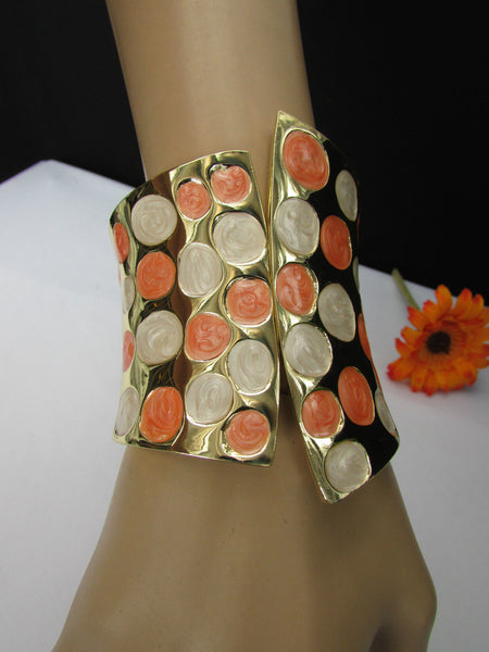 Gold Metal Wide Cuff Bracelet Claws White Peach Polka Dots Women Fashion Accessories