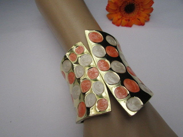 Gold Metal Wide Cuff Bracelet Claws White Peach Polka Dots New Women Fashion Jewelry Accessories - alwaystyle4you - 4
