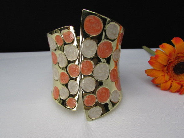 Gold Metal Wide Cuff Bracelet Claws White Peach Polka Dots New Women Fashion Jewelry Accessories - alwaystyle4you - 5