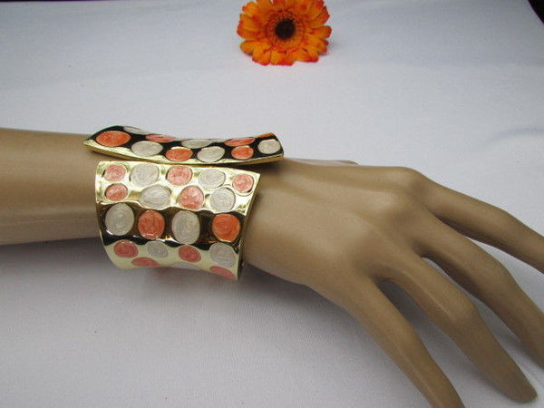 Gold Metal Wide Cuff Bracelet Claws White Peach Polka Dots New Women Fashion Jewelry Accessories - alwaystyle4you - 6