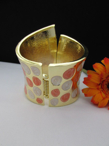 Gold Metal Wide Cuff Bracelet Claws White Peach Polka Dots New Women Fashion Jewelry Accessories - alwaystyle4you - 8